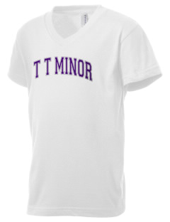 T T Minor Elementary School Bullpups Kid's V-Neck Jersey T-Shirt