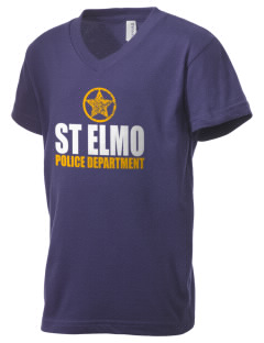 St Elmo Police Department Kid's V-Neck Jersey T-Shirt