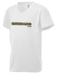 Equatorial Guinea Kid's V-Neck Jersey T-Shirt