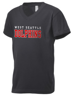 West Seattle YMCA Dolphins Kid's V-Neck Jersey T-Shirt