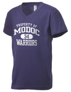 Modoc Middle School Warriors Kid's V-Neck Jersey T-Shirt