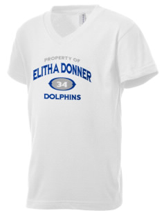 Elitha Donner Elementary School Dolphins Kid's V-Neck Jersey T-Shirt