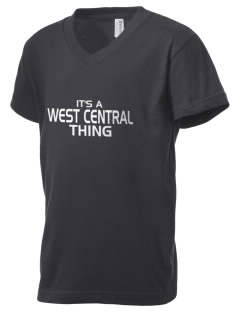 West Central Middle School Wild Cats Kid's V-Neck Jersey T-Shirt