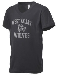 West Valley Middle School Wolves Kid's V-Neck Jersey T-Shirt