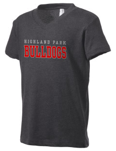 Highland Park Intermediate School Bulldogs Kid's V-Neck Jersey T-Shirt
