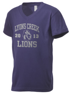 Lyons Creek Middle School Lions Kid's V-Neck Jersey T-Shirt