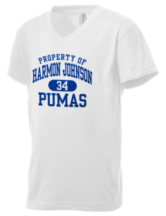 Harmon Johnson Elementary School Pumas Kid's V-Neck Jersey T-Shirt