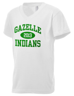 Gazelle Elementary School Indians Kid's V-Neck Jersey T-Shirt