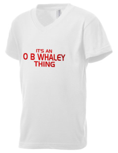 O B Whaley Elementary School Whales Kid's V-Neck Jersey T-Shirt