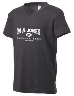 M A Jones Elementary School Rams Kid's V-Neck Jersey T-Shirt