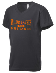 William G Mather Middle School Mustangs Kid's V-Neck Jersey T-Shirt