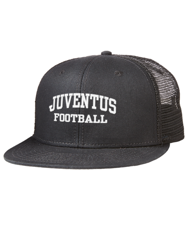 3eed917bcfc Juventus Embroidered Cotton Twill Flat Bill Trucker Style Snapback Cap