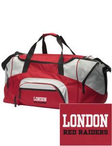 Loadanim London High School Red Raiders Embroidered Colorblock Duffle Bag