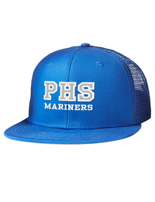 Pacifica High School Mariners Embroidered Cotton Twill Flat Bill Trucker Style Snapback Cap