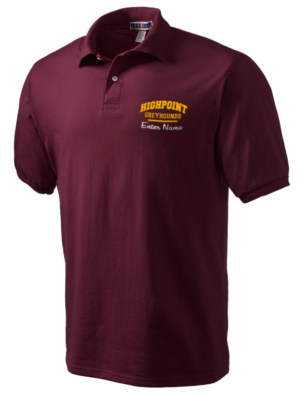 Highpoint academy greyhounds embroidered jerzees men 39 s for Embroidered polo shirts miami