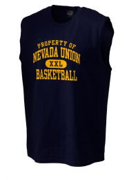 The perfect in-between custom Nevada Union High School Miners sleeveless crewneck T-Shirt.  The Nevada Union High School Miners sleeveless tee is preshrunk with double-needle stitching on neck, and hemmed armholes.  Ash color is 99% cotton, 1% polyester.  Sport Grey is 90% cotton, 10% polyester.
