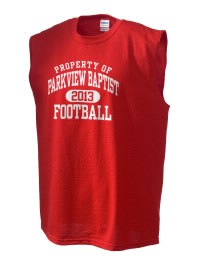 The perfect in-between custom Parkview Baptist School Eagles sleeveless crewneck T-Shirt.  The Parkview Baptist School Eagles sleeveless tee is preshrunk with double-needle stitching on neck, and hemmed armholes.  Ash color is 99% cotton, 1% polyester.  Sport Grey is 90% cotton, 10% polyester.