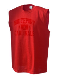The perfect in-between custom Southport High School Cardinals sleeveless crewneck T-Shirt.  The Southport High School Cardinals sleeveless tee is preshrunk with double-needle stitching on neck, and hemmed armholes.  Ash color is 99% cotton, 1% polyester.  Sport Grey is 90% cotton, 10% polyester.