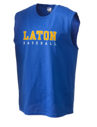 The perfect in-between custom Laton High School Mustangs sleeveless crewneck T-Shirt.  The Laton High School Mustangs sleeveless tee is preshrunk with double-needle stitching on neck, and hemmed armholes.  Ash color is 99% cotton, 1% polyester.  Sport Grey is 90% cotton, 10% polyester.