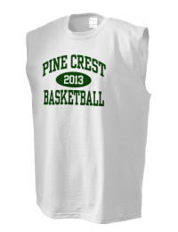 The perfect in-between custom Pine Crest School Panthers sleeveless crewneck T-Shirt.  The Pine Crest School Panthers sleeveless tee is preshrunk with double-needle stitching on neck, and hemmed armholes.  Ash color is 99% cotton, 1% polyester.  Sport Grey is 90% cotton, 10% polyester.