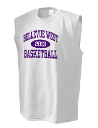 The perfect in-between custom Bellevue West High School Thunderbirds sleeveless crewneck T-Shirt.  The Bellevue West High School Thunderbirds sleeveless tee is preshrunk with double-needle stitching on neck, and hemmed armholes.  Ash color is 99% cotton, 1% polyester.  Sport Grey is 90% cotton, 10% polyester.
