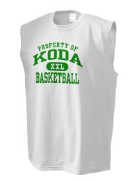 The perfect in-between custom Koda Middle School Indians sleeveless crewneck T-Shirt.  The Koda Middle School Indians sleeveless tee is preshrunk with double-needle stitching on neck, and hemmed armholes.  Ash color is 99% cotton, 1% polyester.  Sport Grey is 90% cotton, 10% polyester.