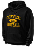 Stay warm and look good in this Coffee High School hooded sweatshirt. Made of super-soft cotton/poly fleece, it will keep you warm on the sidelines or in the stands. Spandex trim provides extra comfort and the coverseamed construction throughout provides increased durability.