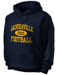 Stay warm and look good in this Jacksonville High School hooded sweatshirt.
