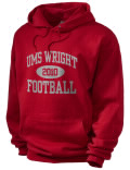 Stay warm and look good in this UMS-Wright High School hooded sweatshirt. Made of super-soft cotton/poly fleece, it will keep you warm on the sidelines or in the stands. Spandex trim provides extra comfort and the coverseamed construction throughout provides increased durability.