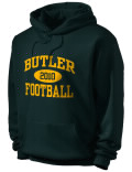 Stay warm and look good in this Butler High School hooded sweatshirt. Made of super-soft cotton/poly fleece, it will keep you warm on the sidelines or in the stands. Spandex trim provides extra comfort and the coverseamed construction throughout provides increased durability.