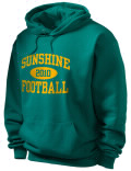 Stay warm and look good in this Sunshine High School hooded sweatshirt. Made of super-soft cotton/poly fleece, it will keep you warm on the sidelines or in the stands. Spandex trim provides extra comfort and the coverseamed construction throughout provides increased durability.
