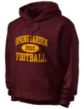 Stay warm and look good in this Spring Garden High School hooded sweatshirt. Made of super-soft cotton/poly fleece, it will keep you warm on the sidelines or in the stands. Spandex trim provides extra comfort and the coverseamed construction throughout provides increased durability.