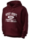 Stay warm and look good in this West Point High School hooded sweatshirt. Made of super-soft cotton/poly fleece, it will keep you warm on the sidelines or in the stands. Spandex trim provides extra comfort and the coverseamed construction throughout provides increased durability.