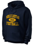 Stay warm and look good in this Mobile Christian High School hooded sweatshirt.