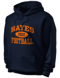 Stay warm and look good in this Hayes High School hooded sweatshirt. Made of super-soft cotton/poly fleece, it will keep you warm on the sidelines or in the stands. Spandex trim provides extra comfort and the coverseamed construction throughout provides increased durability.