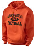 Stay warm and look good in this Cahawba Christian High School hooded sweatshirt. Made of super-soft cotton/poly fleece, it will keep you warm on the sidelines or in the stands. Spandex trim provides extra comfort and the coverseamed construction throughout provides increased durability.