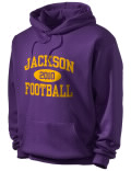 Stay warm and look good in this Jackson High School hooded sweatshirt.
