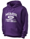 Stay warm and look good in this Minor High School hooded sweatshirt.