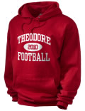 Stay warm and look good in this Theodore High School hooded sweatshirt.