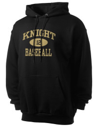 Crafted for comfort, this lighter weight Knight High School Hawks hooded sweatshirt is perfect for relaxing and it's a real value for a sportswear hoody. A must have for the serious Knight High School Hawks apparel and merchandise collection. 50/50 cotton/poly fleece hoodie with two-ply hood, dyed-to-match drawcord, set-in sleeves, and front pouch pocket round out the features of a Hawks hooded sweatshirt.