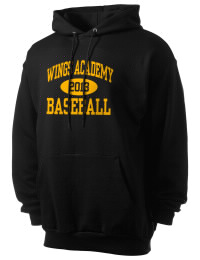 Crafted for comfort, this lighter weight Wings Academy Wings  hooded sweatshirt is perfect for relaxing and it's a real value for a sportswear hoody. A must have for the serious Wings Academy Wings  apparel and merchandise collection. 50/50 cotton/poly fleece hoodie with two-ply hood, dyed-to-match drawcord, set-in sleeves, and front pouch pocket round out the features of a Wings  hooded sweatshirt.