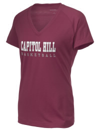 The Ladies Ultimate Performance V-Neck Capitol Hill High School Redskins tee is perfect for your active lifestyle.  The V-neck performance t-shirt is made with moisture wicking fabric and has a soft, cotton-like feel. This layerable Capitol Hill High School Redskins V-neck tee is sure to become a favorite on and off the court.