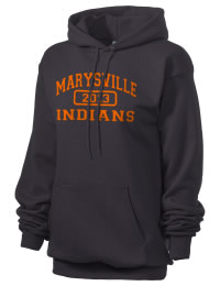 Crafted for comfort, this lighter weight embroidered Marysville High School Indians hooded sweatshirt is perfect for relaxing.  A must have hoody for the serious Marysville High School Indians apparel and merchandise collection. 50/50 cotton/poly fleece hoodie with two-ply hood, dyed-to-match drawcord, set-in sleeves, and front pouch pocket round out the features of a Indians hooded sweatshirt.